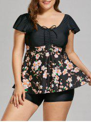 Floral Padded High Waisted Plus Size Bathing Suit