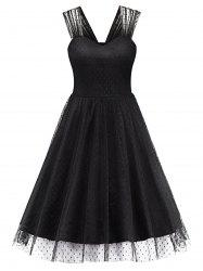 Polka Dot Mesh A Line Party Dress
