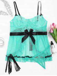 Plus Size Lace Backless Sheer Lingeries Dress - LIGHT GREEN