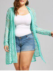 Plus Size Shawl Collar Long Sleeve Lace Kimono