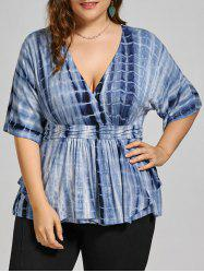 Plus Size V Neck Tie Dye Top