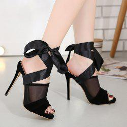 High Heel Sandals with Ribbon Tie - BLACK 37