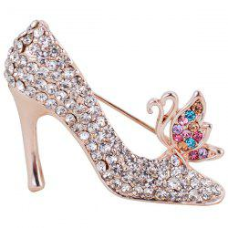 Rhinestone Butterfly High-heeled Shoe Design Brooch - COLORFUL