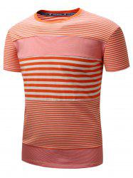 Short Sleeve Plucked Striped Panel T-shirt