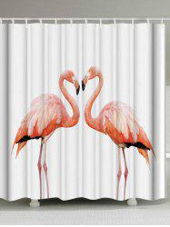 Thicken Fabric Shower Curtain with Flamingo Print