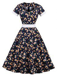 Vintage Floral Print Pin Up Dress
