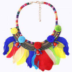 Fuzzy Ball Rainbow Feather Teardrop Necklace