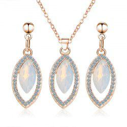Rhinestone Faux Gem Necklace and Earring Set
