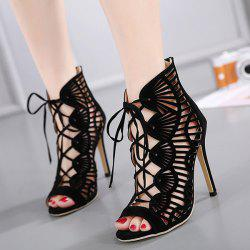 Zip Back Cutout High Heel Sandals