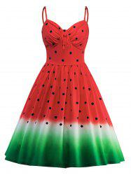 Spaghetti Strap A Line Watermelon Printed Dress