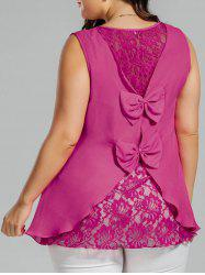 Plus Size Chiffon Lace Panel Bowknot Embellished Tank Top - ROSE RED