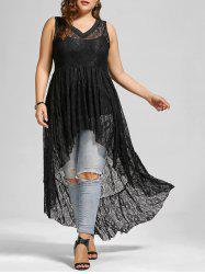See Through Lace High Low Plus Size Top - BLACK