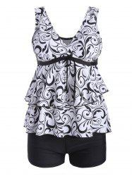 Plus Size Flounce Printed Blouson Tankini Set - WHITE AND BLACK