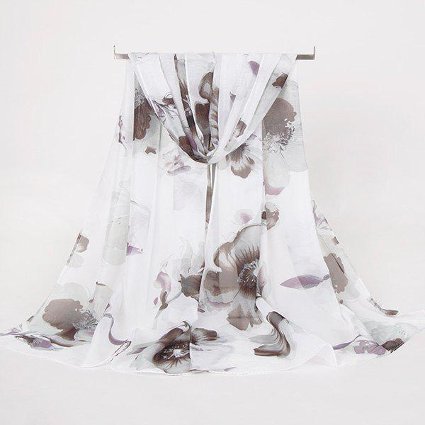 Gossamer Watercolour Floral Printing Long ScarfACCESSORIES<br><br>Color: BLACK WHITE; Scarf Type: Scarf; Group: Adult; Gender: For Women; Style: Vintage; Material: Polyester; Pattern Type: Floral; Season: Fall,Spring,Summer,Winter; Scarf Length: 150CM; Scarf Width (CM): 50CM; Weight: 0.0100kg; Package Contents: 1 x Scarf;
