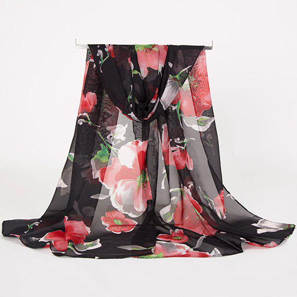Gossamer Watercolour Floral Printing Long ScarfACCESSORIES<br><br>Color: BLACK; Scarf Type: Scarf; Group: Adult; Gender: For Women; Style: Vintage; Material: Polyester; Pattern Type: Floral; Season: Fall,Spring,Summer,Winter; Scarf Length: 150CM; Scarf Width (CM): 50CM; Weight: 0.0100kg; Package Contents: 1 x Scarf;