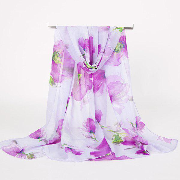 Gossamer Watercolour Floral Printing Long ScarfACCESSORIES<br><br>Color: LIGHT PURPLE; Scarf Type: Scarf; Group: Adult; Gender: For Women; Style: Vintage; Material: Polyester; Pattern Type: Floral; Season: Fall,Spring,Summer,Winter; Scarf Length: 150CM; Scarf Width (CM): 50CM; Weight: 0.0100kg; Package Contents: 1 x Scarf;