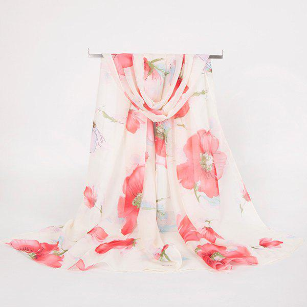 Gossamer Watercolour Floral Printing Long ScarfACCESSORIES<br><br>Color: WATER RED; Scarf Type: Scarf; Group: Adult; Gender: For Women; Style: Vintage; Material: Polyester; Pattern Type: Floral; Season: Fall,Spring,Summer,Winter; Scarf Length: 150CM; Scarf Width (CM): 50CM; Weight: 0.0100kg; Package Contents: 1 x Scarf;