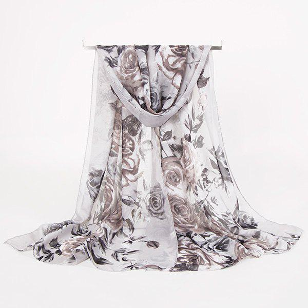 Rose Blossom Printed Lightsome Retro ScarfACCESSORIES<br><br>Color: GREY WHITE; Scarf Type: Scarf; Group: Adult; Gender: For Women; Style: Vintage; Material: Polyester; Pattern Type: Floral; Season: Fall,Spring,Summer,Winter; Scarf Length: 150CM; Scarf Width (CM): 50CM; Weight: 0.0100kg; Package Contents: 1 x Scarf;