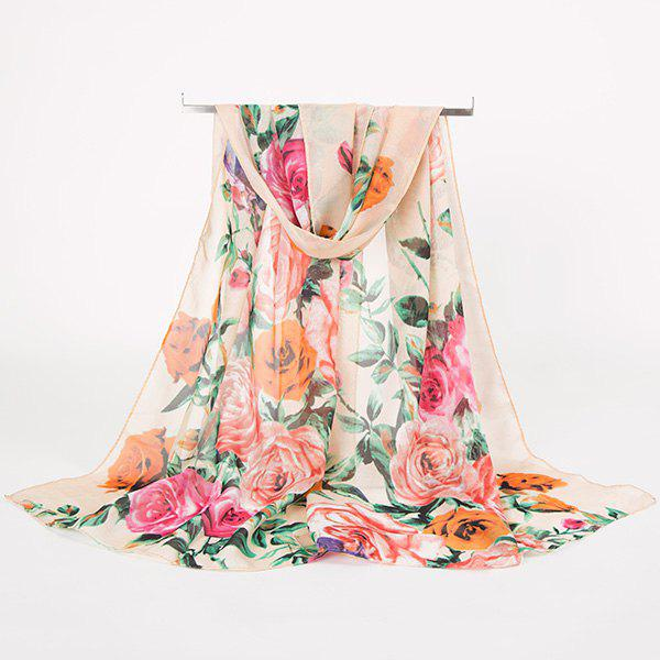 Rose Blossom Printed Lightsome Retro ScarfACCESSORIES<br><br>Color: APRICOT; Scarf Type: Scarf; Group: Adult; Gender: For Women; Style: Vintage; Material: Polyester; Pattern Type: Floral; Season: Fall,Spring,Summer,Winter; Scarf Length: 150CM; Scarf Width (CM): 50CM; Weight: 0.0100kg; Package Contents: 1 x Scarf;
