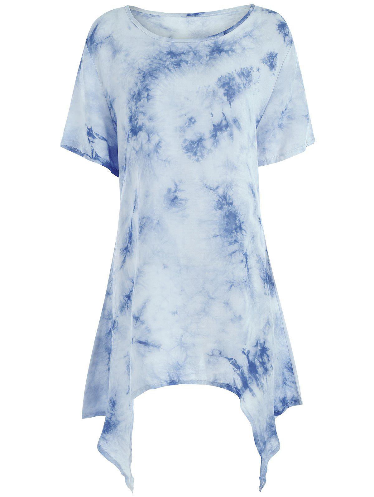 Asymmetrical Tie Dye Plus Size Tunic TopWOMEN<br><br>Size: 2XL; Color: BLUE; Material: Polyester; Shirt Length: Long; Sleeve Length: Short; Collar: Round Neck; Style: Casual; Season: Summer; Pattern Type: Others; Weight: 0.1800kg; Package Contents: 1 x Top;