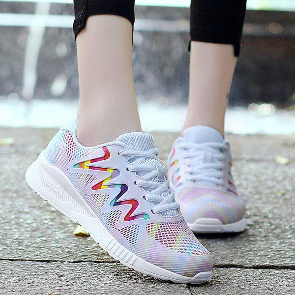 Unique Breathable Striped Multicolor Athletic Shoes