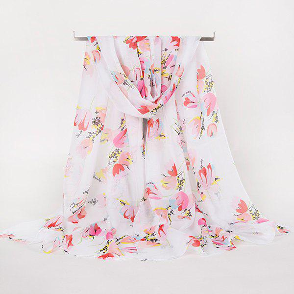 Discount Lightsome Multicolor Flowers Printed Gossamer Scarf