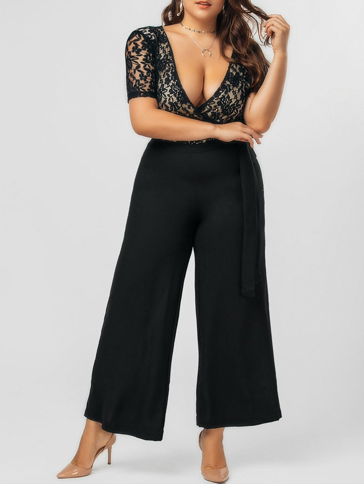 Outfits Lace Panel Bowknot Plus Size Jumpsuit