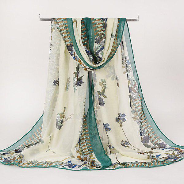 Lightsome Vintage Ethnic Floral Printed Gossamer ScarfACCESSORIES<br><br>Color: GREEN; Scarf Type: Scarf; Group: Adult; Gender: For Women; Style: Vintage; Material: Polyester; Pattern Type: Floral; Season: Fall,Spring,Summer,Winter; Scarf Length: 150CM; Scarf Width (CM): 50CM; Weight: 0.0100kg; Package Contents: 1 x Scarf;