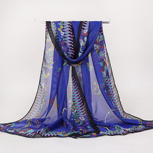 Lightsome Vintage Ethnic Floral Printed Gossamer ScarfACCESSORIES<br><br>Color: DEEP BLUE; Scarf Type: Scarf; Group: Adult; Gender: For Women; Style: Vintage; Material: Polyester; Pattern Type: Floral; Season: Fall,Spring,Summer,Winter; Scarf Length: 150CM; Scarf Width (CM): 50CM; Weight: 0.0100kg; Package Contents: 1 x Scarf;