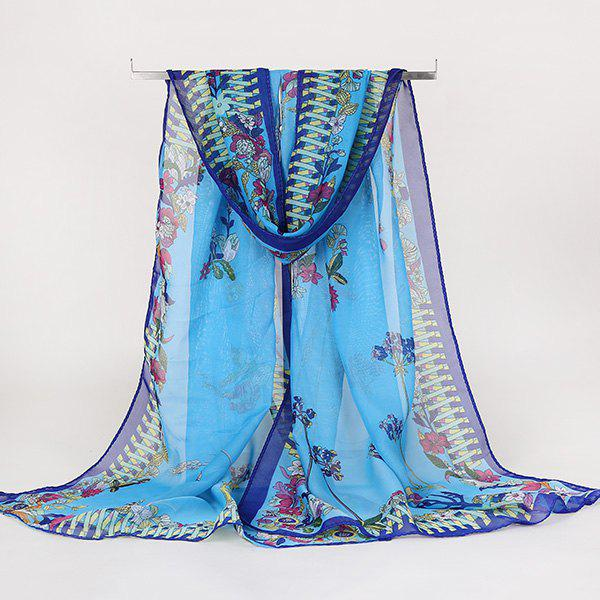 Lightsome Vintage Ethnic Floral Printed Gossamer ScarfACCESSORIES<br><br>Color: BLUE; Scarf Type: Scarf; Group: Adult; Gender: For Women; Style: Vintage; Material: Polyester; Pattern Type: Floral; Season: Fall,Spring,Summer,Winter; Scarf Length: 150CM; Scarf Width (CM): 50CM; Weight: 0.0100kg; Package Contents: 1 x Scarf;