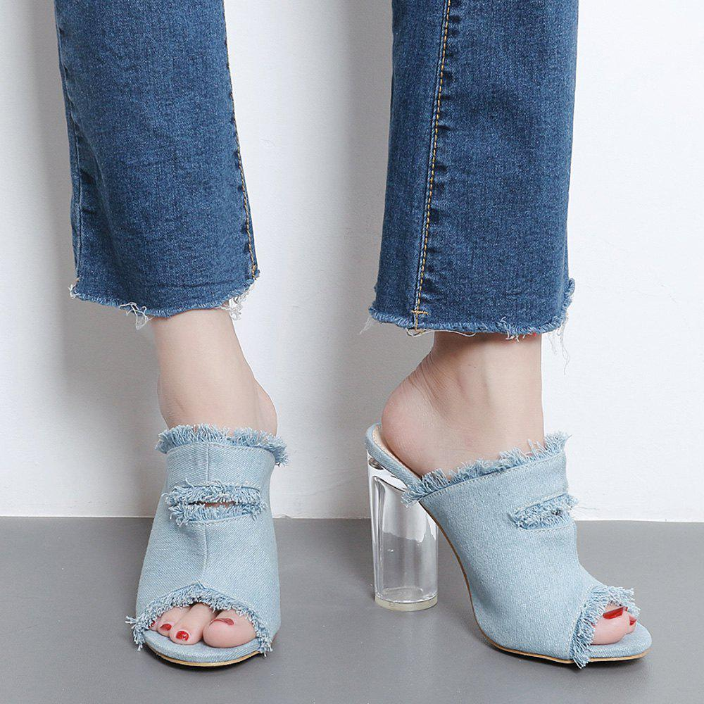 Discount Crystal Heel Denim Slippers