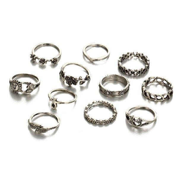 Moon Sun Flower Leaf Finger Ring SetJEWELRY<br><br>Color: SILVER; Gender: For Women; Metal Type: Others; Style: Trendy; Shape/Pattern: Floral,Moon; Weight: 0.0400kg; Package Contents: 11 x Rings (Piece);
