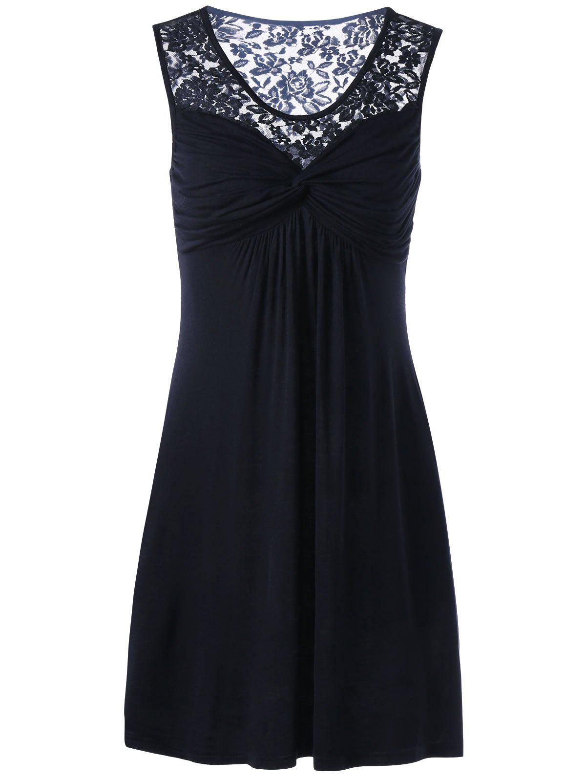Twist Front Lace Panel Sleeveless DressWOMEN<br><br>Size: M; Color: BLACK; Style: Casual; Material: Rayon,Spandex; Silhouette: Straight; Dresses Length: Knee-Length; Neckline: Round Collar; Sleeve Length: Sleeveless; With Belt: No; Season: Summer; Weight: 0.3300kg; Package Contents: 1 x Dress; Occasion: Outdoor;