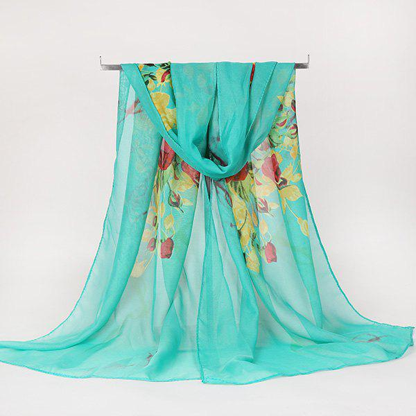 Lightsome Rose Bush Printed Gossamer ScarfACCESSORIES<br><br>Color: BLUE GREEN; Scarf Type: Scarf; Group: Adult; Gender: For Women; Style: Vintage; Material: Polyester; Pattern Type: Floral; Season: Fall,Spring,Summer,Winter; Scarf Length: 150CM; Scarf Width (CM): 50CM; Weight: 0.0100kg; Package Contents: 1 x Scarf;