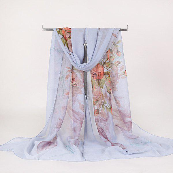 Lightsome Rose Bush Printed Gossamer ScarfACCESSORIES<br><br>Color: AZURE; Scarf Type: Scarf; Group: Adult; Gender: For Women; Style: Vintage; Material: Polyester; Pattern Type: Floral; Season: Fall,Spring,Summer,Winter; Scarf Length: 150CM; Scarf Width (CM): 50CM; Weight: 0.0100kg; Package Contents: 1 x Scarf;