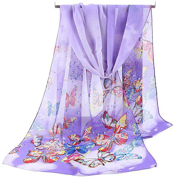 Lightsome Fancy Butterfly Printing Chiffon Scarf