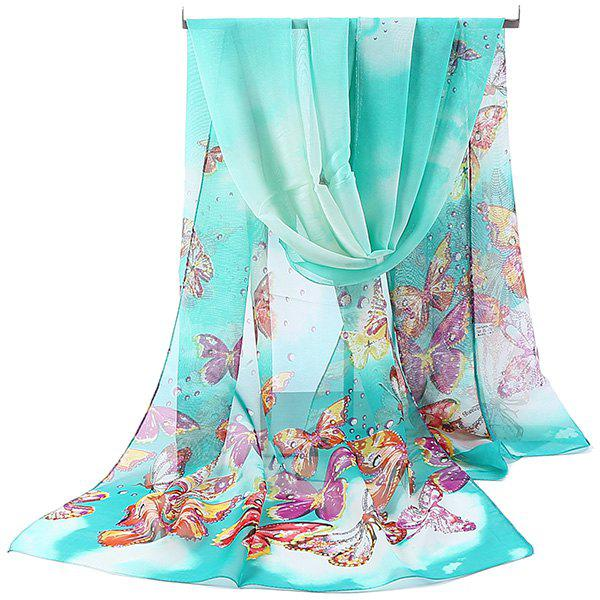 Lightsome Fancy Butterfly Printing Chiffon ScarfACCESSORIES<br><br>Color: BLUE GREEN; Scarf Type: Scarf; Group: Adult; Gender: For Women; Style: Fashion; Material: Polyester; Pattern Type: Animal; Season: Fall,Spring,Summer,Winter; Scarf Length: 150CM; Scarf Width (CM): 50CM; Weight: 0.0500kg; Package Contents: 1 x Scarf;
