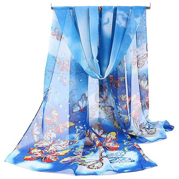 Lightsome Fancy Butterfly Printing Chiffon ScarfACCESSORIES<br><br>Color: AZURE; Scarf Type: Scarf; Group: Adult; Gender: For Women; Style: Fashion; Material: Polyester; Pattern Type: Animal; Season: Fall,Spring,Summer,Winter; Scarf Length: 150CM; Scarf Width (CM): 50CM; Weight: 0.0500kg; Package Contents: 1 x Scarf;