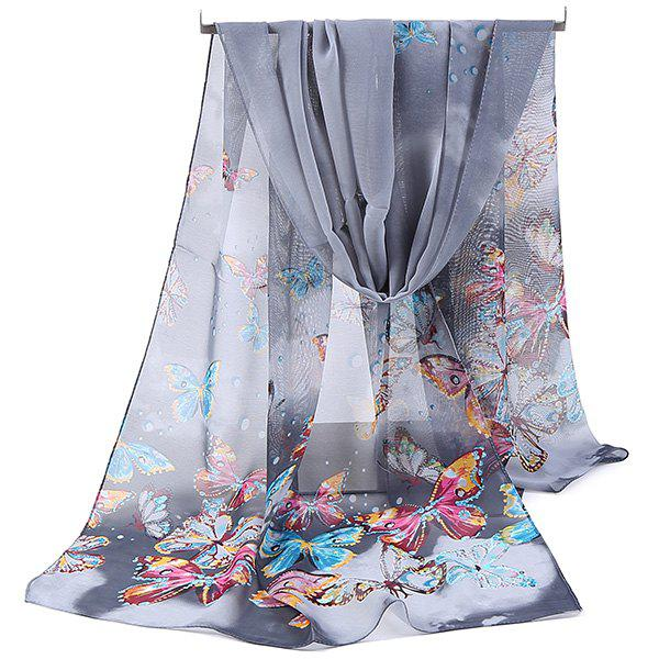 Lightsome Fancy Butterfly Printing Chiffon ScarfACCESSORIES<br><br>Color: GRAY; Scarf Type: Scarf; Group: Adult; Gender: For Women; Style: Fashion; Material: Polyester; Pattern Type: Animal; Season: Fall,Spring,Summer,Winter; Scarf Length: 150CM; Scarf Width (CM): 50CM; Weight: 0.0500kg; Package Contents: 1 x Scarf;