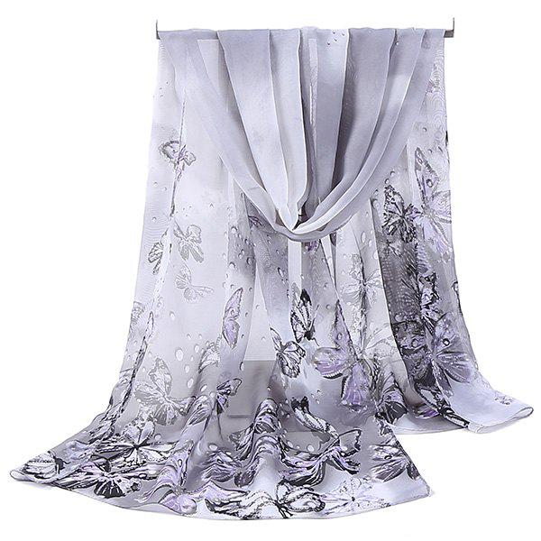 Lightsome Fancy Butterfly Printing Chiffon ScarfACCESSORIES<br><br>Color: GREY WHITE; Scarf Type: Scarf; Group: Adult; Gender: For Women; Style: Fashion; Material: Polyester; Pattern Type: Animal; Season: Fall,Spring,Summer,Winter; Scarf Length: 150CM; Scarf Width (CM): 50CM; Weight: 0.0500kg; Package Contents: 1 x Scarf;