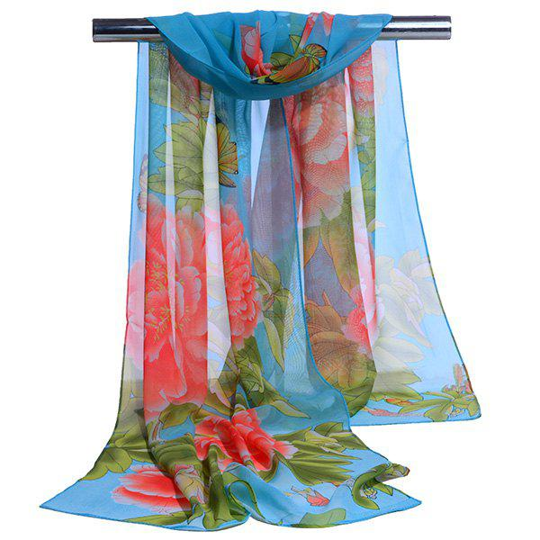 Gossamer Showy Flowers Printed Long ScarfACCESSORIES<br><br>Color: BLUE; Scarf Type: Scarf; Group: Adult; Gender: For Women; Style: Vintage; Material: Polyester; Pattern Type: Floral; Season: Fall,Spring,Summer,Winter; Scarf Length: 150CM; Scarf Width (CM): 50CM; Weight: 0.0100kg; Package Contents: 1 x Scarf;