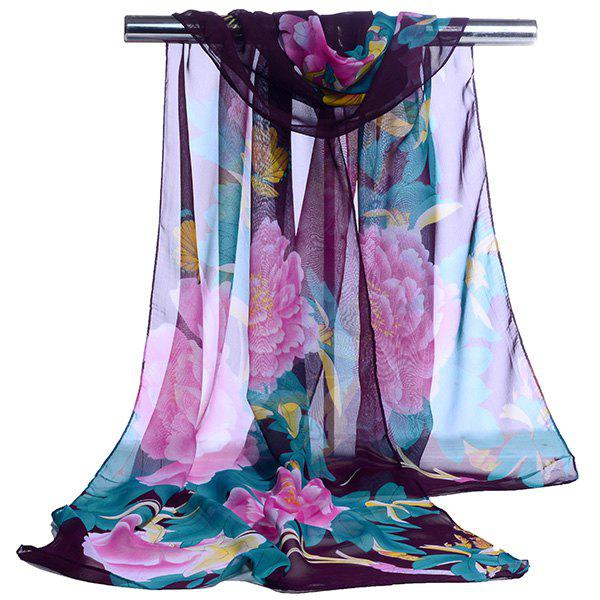 Gossamer Showy Flowers Printed Long ScarfACCESSORIES<br><br>Color: PURPLE; Scarf Type: Scarf; Group: Adult; Gender: For Women; Style: Vintage; Material: Polyester; Pattern Type: Floral; Season: Fall,Spring,Summer,Winter; Scarf Length: 150CM; Scarf Width (CM): 50CM; Weight: 0.0100kg; Package Contents: 1 x Scarf;