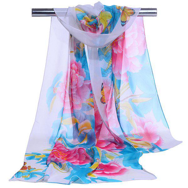 Gossamer Showy Flowers Printed Long ScarfACCESSORIES<br><br>Color: CLOUDY; Scarf Type: Scarf; Group: Adult; Gender: For Women; Style: Vintage; Material: Polyester; Pattern Type: Floral; Season: Fall,Spring,Summer,Winter; Scarf Length: 150CM; Scarf Width (CM): 50CM; Weight: 0.0100kg; Package Contents: 1 x Scarf;