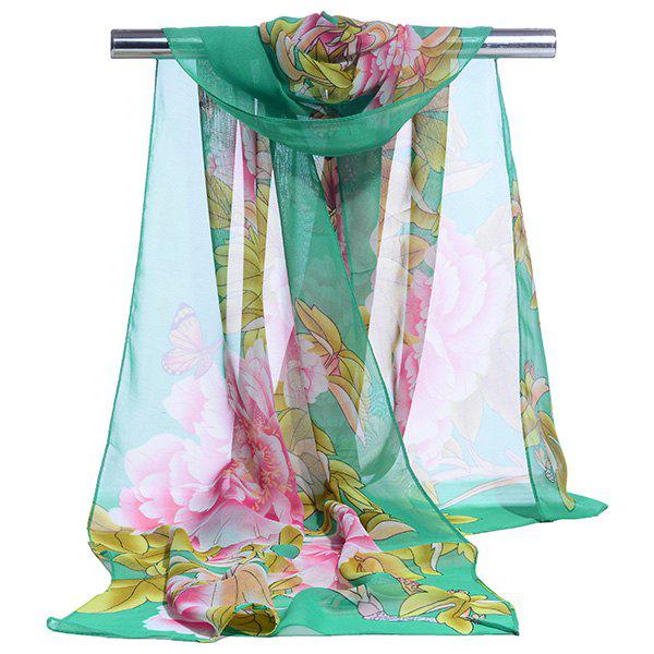 Gossamer Showy Flowers Printed Long ScarfACCESSORIES<br><br>Color: GREEN; Scarf Type: Scarf; Group: Adult; Gender: For Women; Style: Vintage; Material: Polyester; Pattern Type: Floral; Season: Fall,Spring,Summer,Winter; Scarf Length: 150CM; Scarf Width (CM): 50CM; Weight: 0.0100kg; Package Contents: 1 x Scarf;
