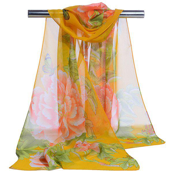 Gossamer Showy Flowers Printed Long ScarfACCESSORIES<br><br>Color: YELLOW; Scarf Type: Scarf; Group: Adult; Gender: For Women; Style: Vintage; Material: Polyester; Pattern Type: Floral; Season: Fall,Spring,Summer,Winter; Scarf Length: 150CM; Scarf Width (CM): 50CM; Weight: 0.0100kg; Package Contents: 1 x Scarf;