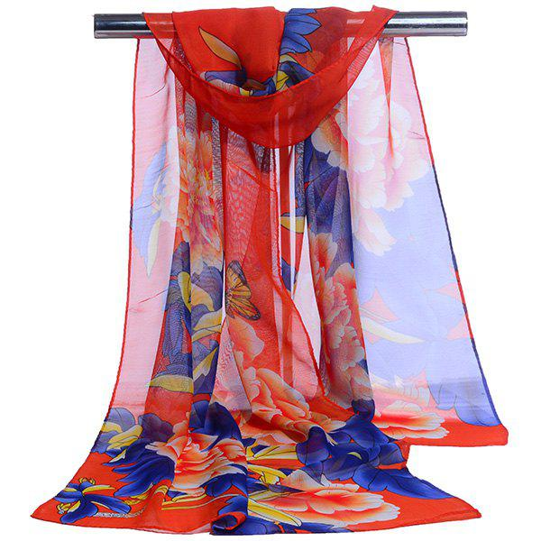 Gossamer Showy Flowers Printed Long ScarfACCESSORIES<br><br>Color: RED; Scarf Type: Scarf; Group: Adult; Gender: For Women; Style: Vintage; Material: Polyester; Pattern Type: Floral; Season: Fall,Spring,Summer,Winter; Scarf Length: 150CM; Scarf Width (CM): 50CM; Weight: 0.0100kg; Package Contents: 1 x Scarf;