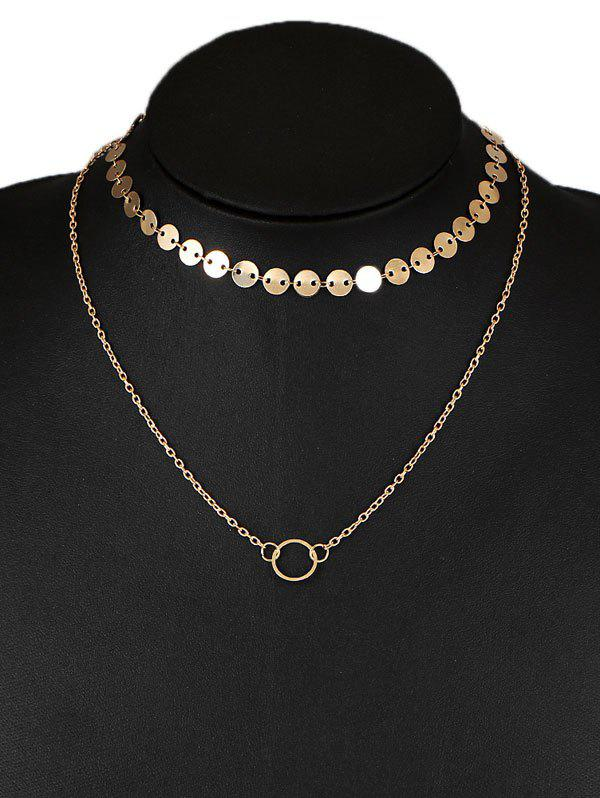 Cheap Layered Circle Disc Collarbone Pendant Necklace