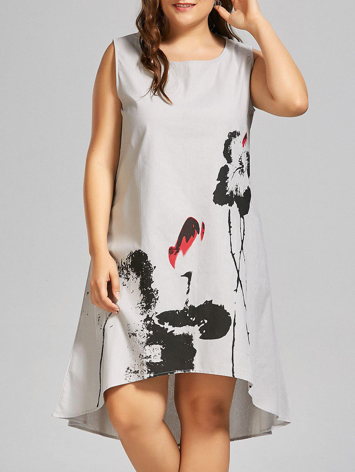 Affordable Plus Size Ink Painted High Low Sleeveless Tank Dress