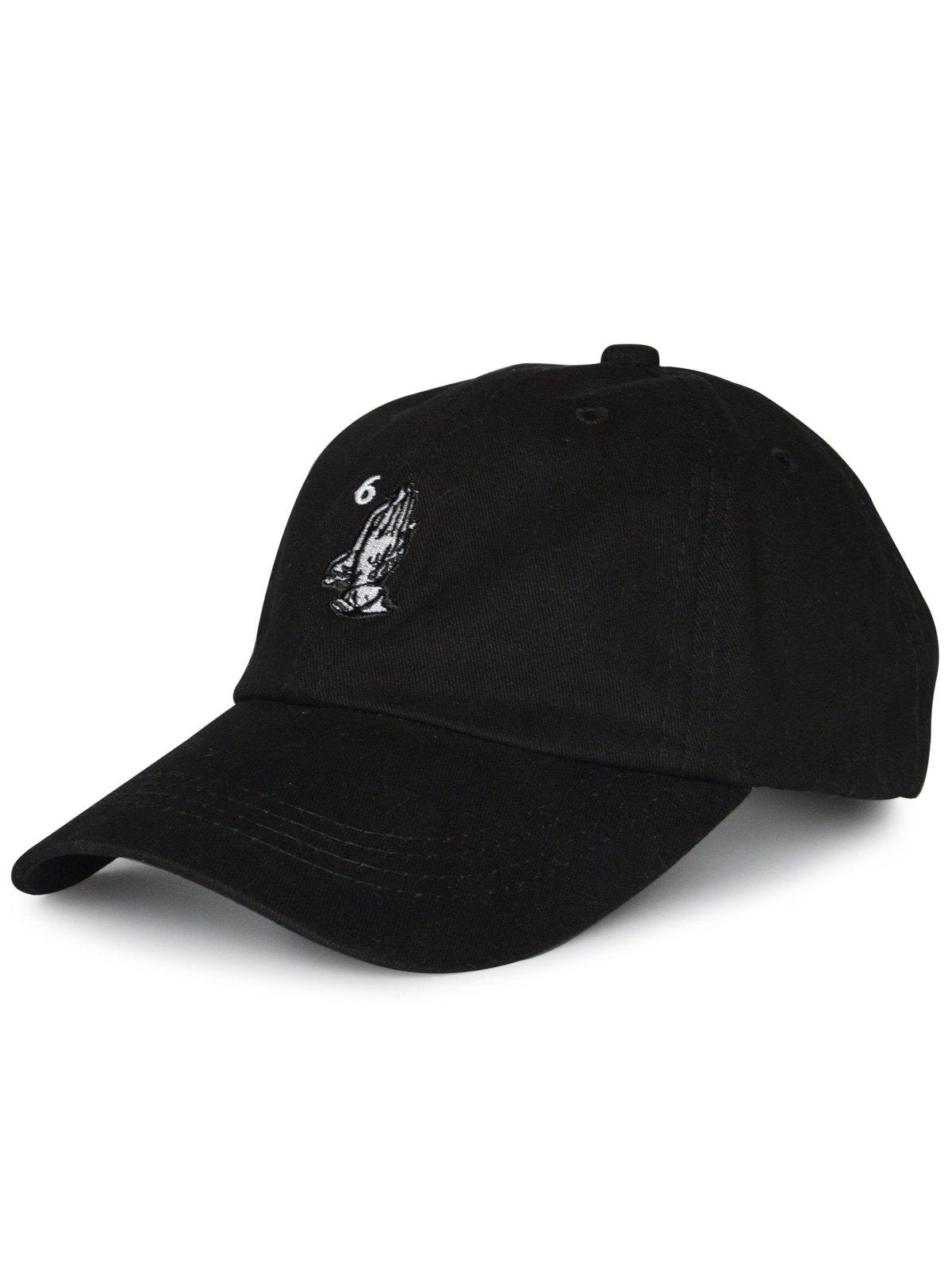 Sunscreen Palms Number Embroidery Baseball HatACCESSORIES<br><br>Color: BLACK; Hat Type: Baseball Caps; Group: Adult; Gender: Unisex; Style: Fashion; Pattern Type: Figure; Material: Polyester; Weight: 0.1100kg; Package Contents: 1 x Hat;