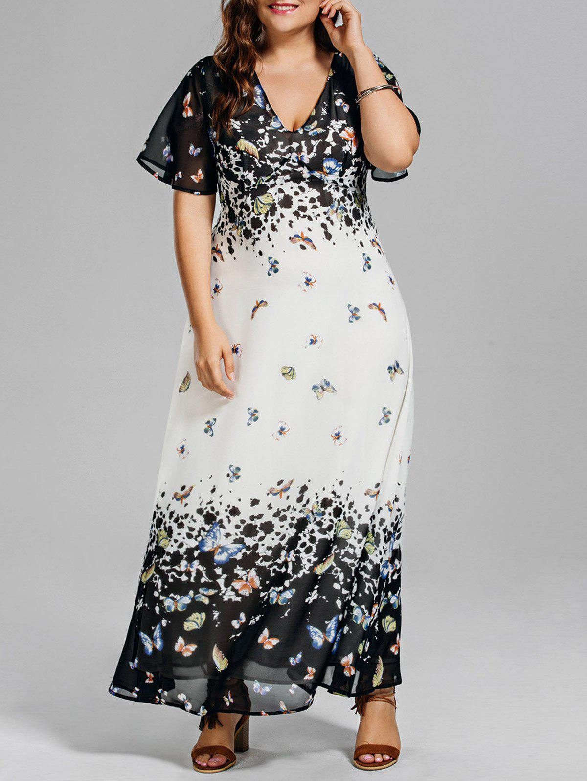 Long Plus Size Butterfly Print Beach DressWOMEN<br><br>Size: 4XL; Color: COLORMIX; Style: Brief; Material: Polyester; Silhouette: A-Line; Dresses Length: Floor-Length; Neckline: Plunging Neck; Sleeve Length: Short Sleeves; Pattern Type: Floral; With Belt: No; Season: Summer; Weight: 0.3800kg; Package Contents: 1 x Dress;